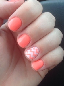 Gel Nails. Bright Orange Chevron.